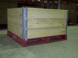 3 Pallet Collars on a pallet create a pallet box.